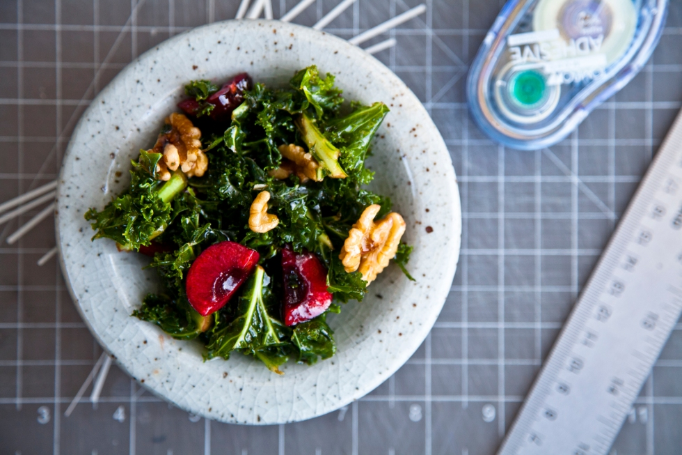 Kale and Cherry Salad with Walnuts